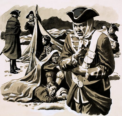 The Mercenaries: Soldiers of Misfortune. German mercenaries were used by the English in America as a last ditch effort to end the War of Indepence. The mercenaries proved ineffective, struggling with the cold in Nova Scotia. Original artwork from Look and Learn no. 621 (8 December 1973).