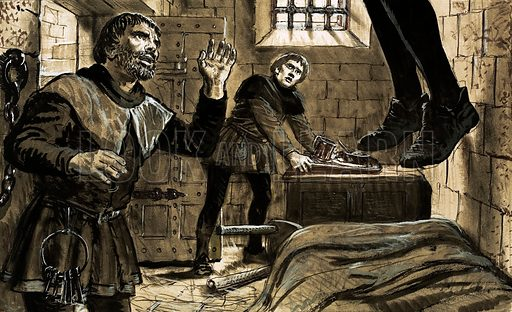 The Scene of the Crime: The Man in the Silken Noose. When Richard Hunne challenged the authority of the church in the 16th century he was imprisoned at Lollards' Tower. One morning he was found assaulted and strangled in his cell; soon after his dead body was tried for heresy and found guilty. Original artwork from Look and Learn no. 620 (1 December 1973).