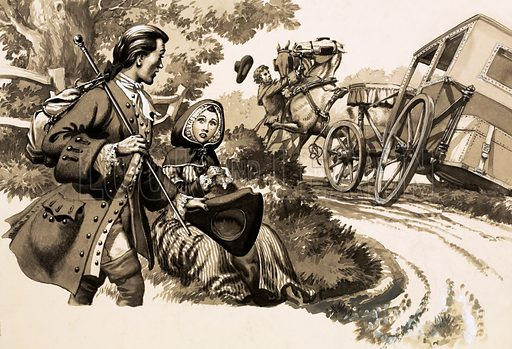 An unidentified traveller sees a woman sitting on the verge of a road; nearby, a driver struggles with the horses of a carriage which has one wheel in a ditch. Original artwork.