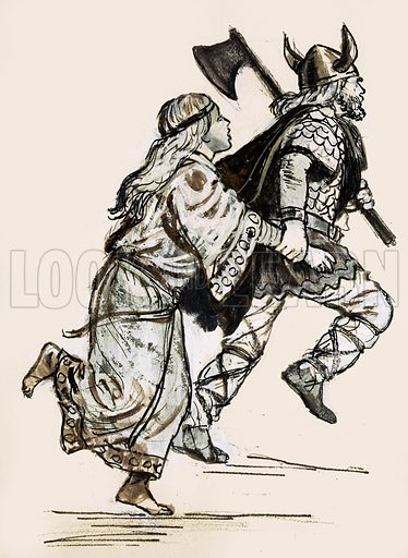 Unidentified woman being dragged off by a Viking raider. Original artwork (dated 7 Aug).
