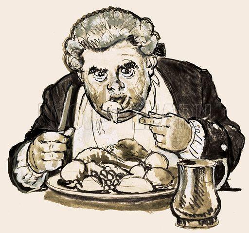Unidentified overweight man gorging himself on food. Original artwork (dated 7 Aug).