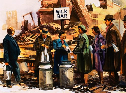 The World in Conflict: Terror from the Skies. London during the Blitz: volunteers set up a milk bar in a bombed out street.