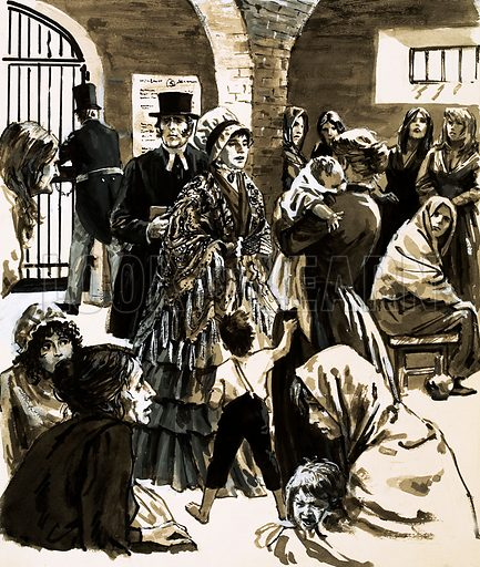 Champions of the People: The Woman Who Went to Prison. Elizabeth Fry became a campaigner for prison reform after visiting Newgate Prison. Original artwork from Look and Learn no. 471 (23 January 1971).