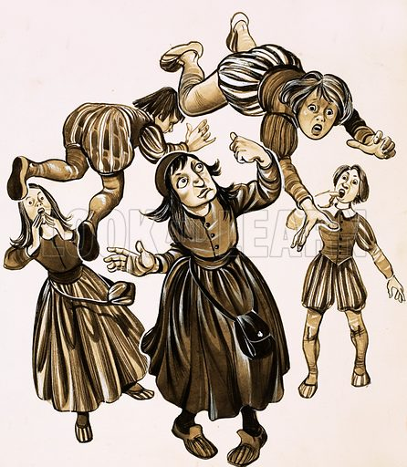 Strange But True: The Amazing Mother Shipton. When insulted by her schoolfriends, young Ursula Southill was said to demonstrate her anger by tossing them up into the air by means of an invisible force. Original artwork from Look and Learn no. 682 (8 February 1975).