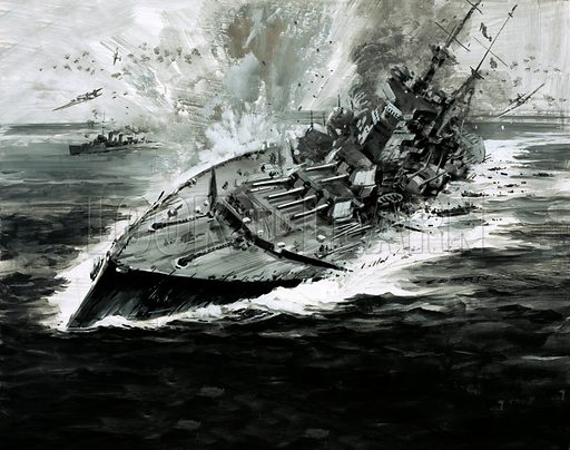 Sinking battleship.