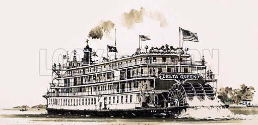 When Veteran Ships Go Paddling. Stern-wheeled Mississippi steamer Delta Queen which was built in 1928. Original artwork from Look and Learn no. 1028 (21 November 1981).