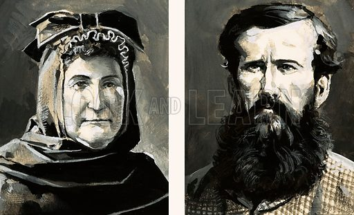 Into the Unknown: Journey to the Secret City. Portraits of Richard Burton (right) and his wife, Isabel. Original artwork from Look and Learn no. 1041 (20 February 1982).
