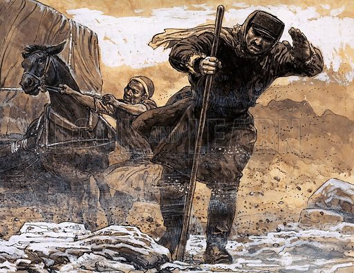 'The Place of the Devil'. Nikolkai Prjevalsky encountered the first terror of the Gobi Desert when a sand storm engulfed him. Original artwork from Look and Learn Book 1982.
