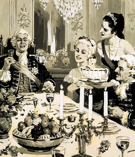 The Rise and Fall of the Romanovs: The Czar Who Never Grew Up. Czar Peter was known for his childish and insulting behaviour, which included making his wife, Catherine, perform menial tasks such as serving his guests at his lavish feasts. Original artwork from Look and Learn no. 597 (23 June 1973).