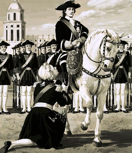 The Rise and Fall of the Romanovs: The Czar Who Never Grew Up. Catherine, dressed in the uniform of a Russian guards officer, led an army revolt that toppled her husband, Czar Peter, from power and forced him to go down on his knees to beg forgiveness. Original artwork from Look and Learn no. 597 (23 June 1973).