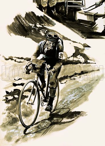 Unidentified cyclist. Original artwork (dated 15 April).