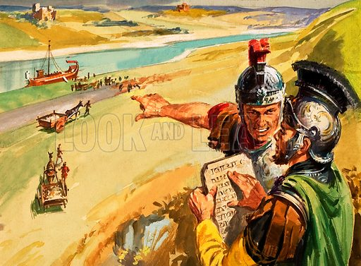 Trajan's road being built alongside the Danube. Original artwork for Look and Learn Finding Out annual 1979.