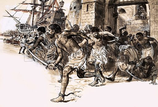 History's Heroes: The Great Slave Escape. John Fox was enslaved for years but led a revolt. Fox and his fellow slaves staged a breakout in Alexandria and escaped by galley to sea. Original artwork from Look and Learn no. 567 (25 November 1972).