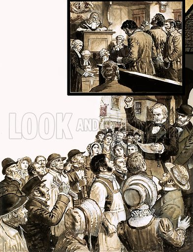 The Tolpuddle Martyrs. In 1834, a group of men were sentenced to deportation for forming a trade union. Protests broke out across the country which eventually led to the convicts receiving a free pardon. Original artwork from Look and Learn no. 562 (21 October 1972).
