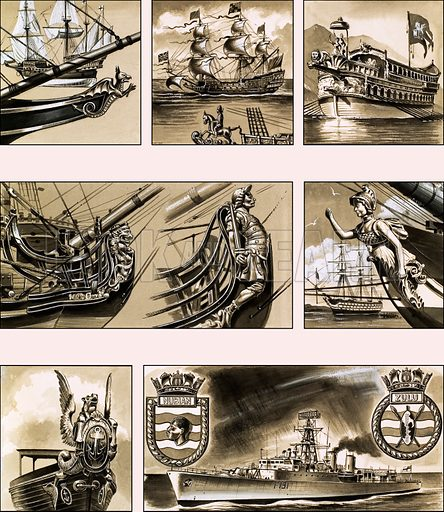 From Then Till Now: Ships' Symbols -- Figureheads. (1) Elizabethan Naval vessal; (2) the mounted figurehead of the warship Sovereign of the Seas; (3) Ornate figurehead of the Venetian State barge of 1728; (4) Lion from an 18th century ship; (5) Achilles on the bow of HMS Achilles; (6) female warrior figurehead of the warship HMS Albion; (7) Winged sea-horse from the bow of the Admiralty barge in a 1919 pageant; (8) modern warships now carry a plaque. Original artwork from Look and Learn no. 192 (18 September 1965).