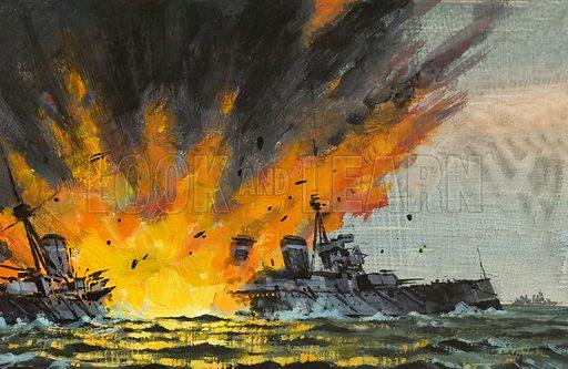 Battleship being sunk. Original artwork for Speed and Power.