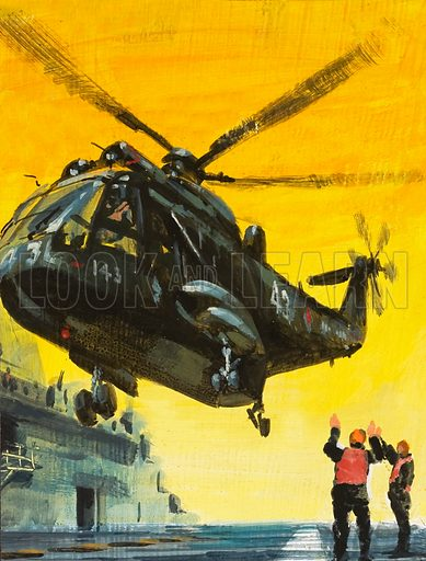 Helicopter landing on aircraft carrier. Original artwork for Speed and Power.