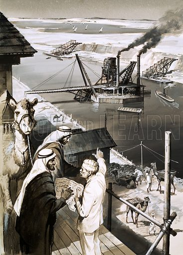 French engineer Ferdinand de Lesseps and the building of the Suez Canal, Egypt, 1859–1869. Original artwork for Look and Learn issue no 157.