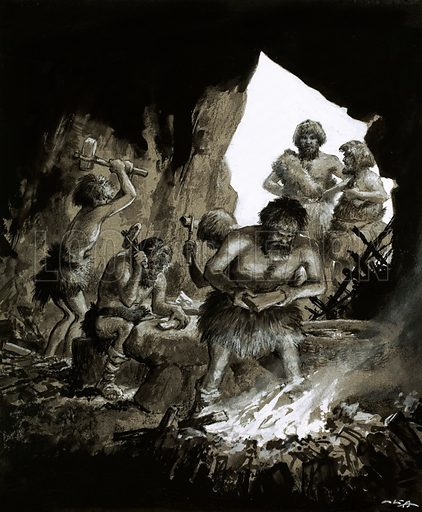 Cave men at work. Original artwork for Look and Learn 1 May 1965.