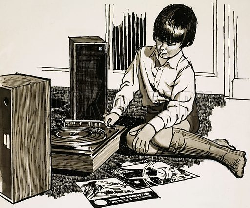 Child playing a record player.