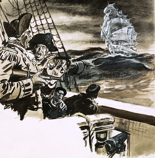 Sailors sighting a ghost ship, possibly the Flying Dutchman.