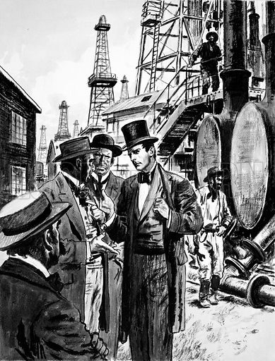 Rockefeller and Samuel Andrews, a candlemaker, saw the future in refining petroleum from wells.
