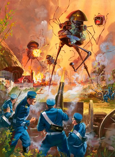 Soldiers fighting the Martian invaders, scene from HG Wells' science fiction novel The War of the Worlds.