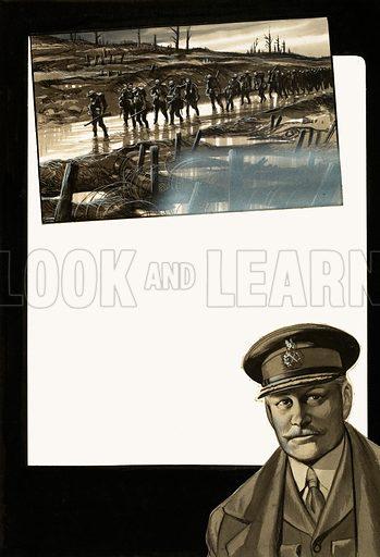 Unidentified war scene and portrait.