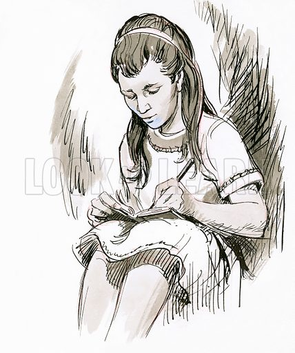 Girl writing.