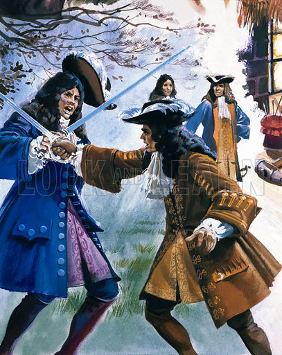 The Earl of Stafford about to be killed in a duel