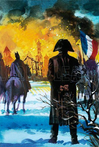 Napoleon watching Moscow burn.