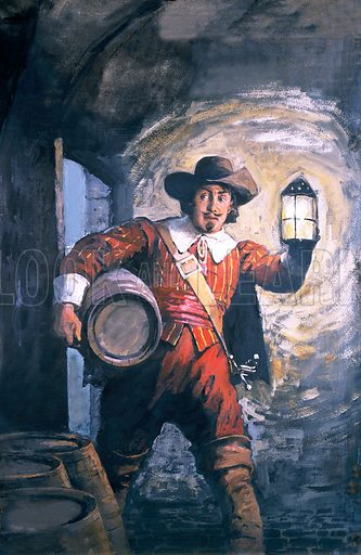 The Gunpowder Plot: Guy Fawkes placing his explosives in the cellar of the Houses of Parliament in London in his unsuccessful attempt to assassinate Kig James I, 1605.
