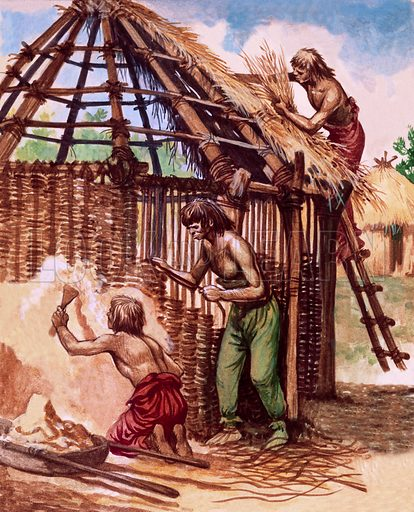 Early Britons building huts.