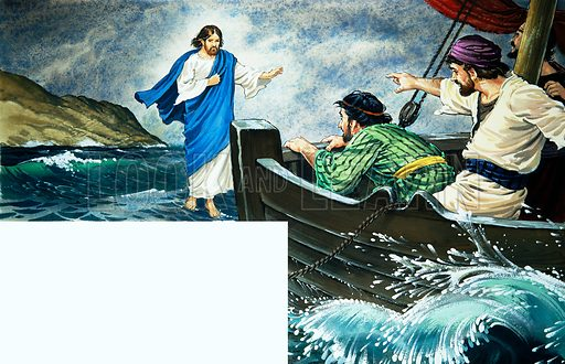 Christ walking on the water.