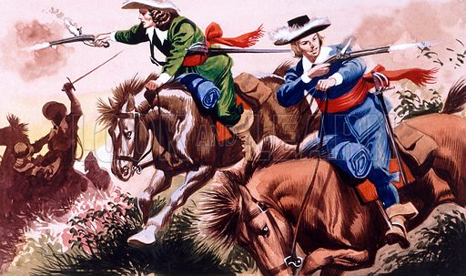 English Civil war battle scene from The Children of the New Forest.