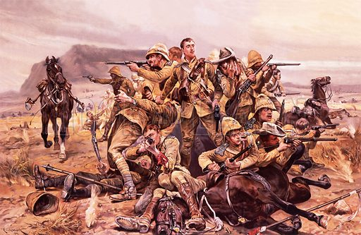 Last stand of the British 17th Lancers at the Battle of Modderfontein, South Africa, Boer War, 1901.