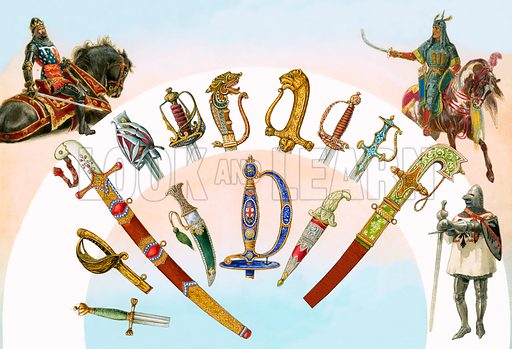 Swords and daggers. Original artwork for Look and Learn Book for Boys.