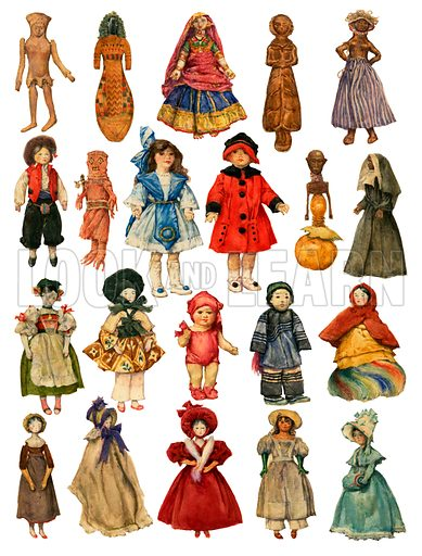 Assorted dolls.