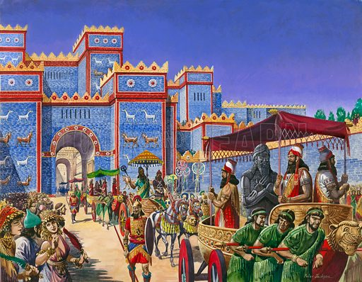 Royal procession passing through the Ishtar Gate on New Year's Day in ancient Babylon
