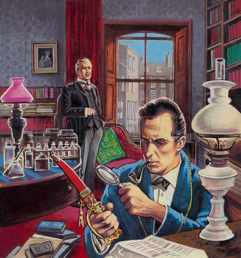 Sherlock Holmes examining a clue in his study at 221B Baker Street, London