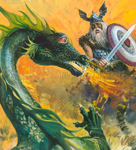 Beowulf fighting the dragon, scene from the Old English epic poem.