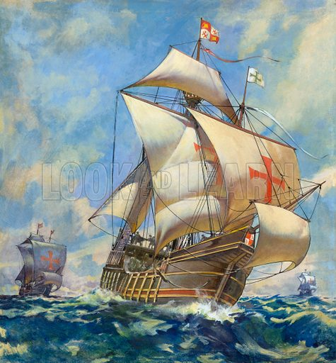The Santa Maria, ship of Christopher Columbus on his first voyage to the New World, 1492