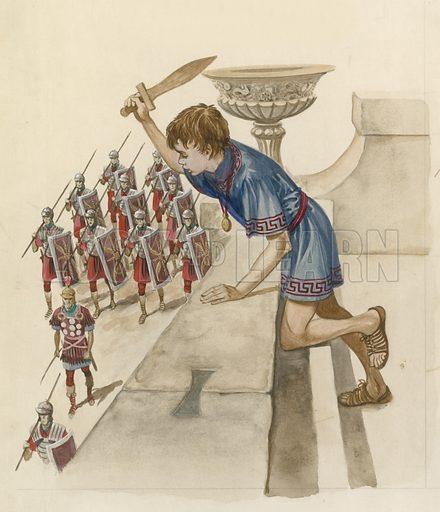 Julius Caesar as a boy, watching Roman soldiers returning from battle