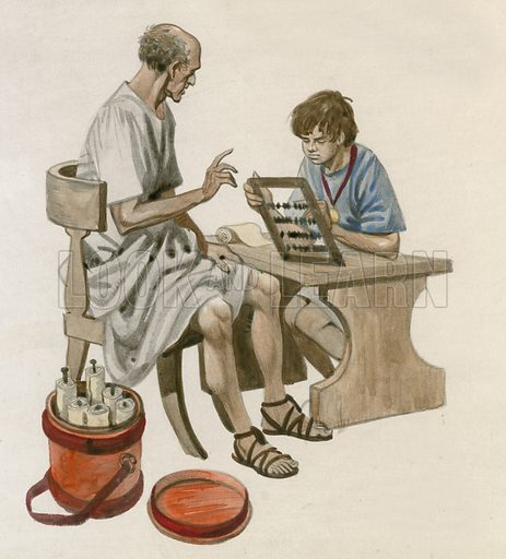 Julius Caesar as a boy, learning to count using an abacus, ancient Rome