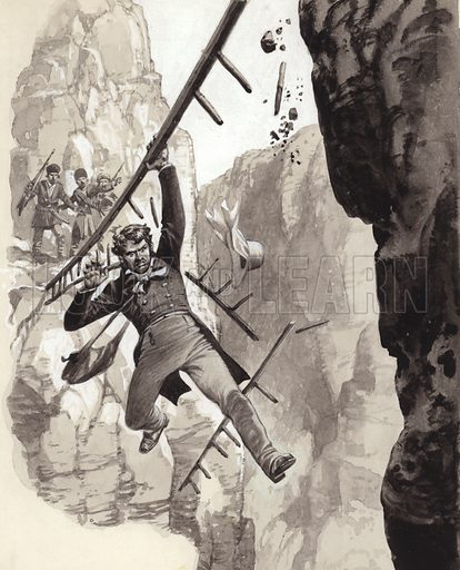 Explorer Henry Creswicke Rawlinson at Behistun. Despite the ladder being too short, Rawlinson attempted to cross a chasm using it as a bridge. Although the ladder broke, Rawlinson was able to swing his way back to the ledge. From Look and Learn 275 (22 April 1967).