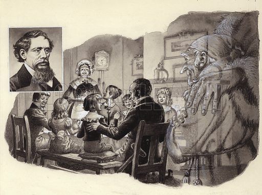 Charles Dickens (inset) describes how Scrooge the miser shares Christmas dinner with his clerk, Bob Cratchit, in A Christmas Carol. From Look and Learn 624 (29 Dec 1973).