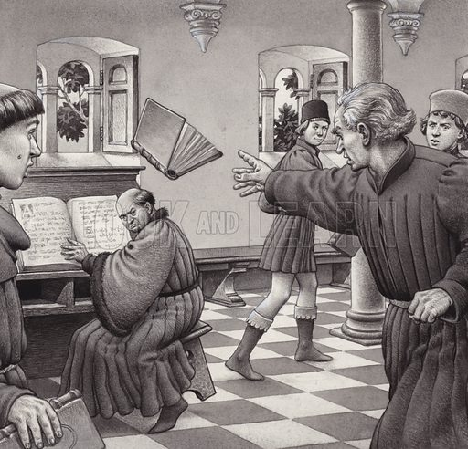 Poggio Bracciolini throws a book at a fellow scholar, Tortelli. From Look and Learn 822 (15 October 1977).