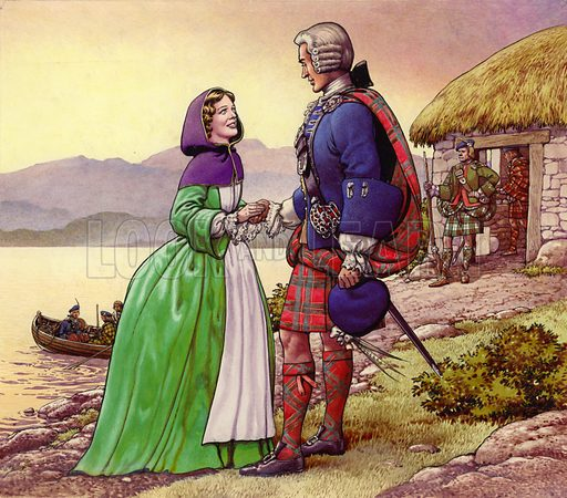 Flora and Prince Charlie, picture, image, illustration