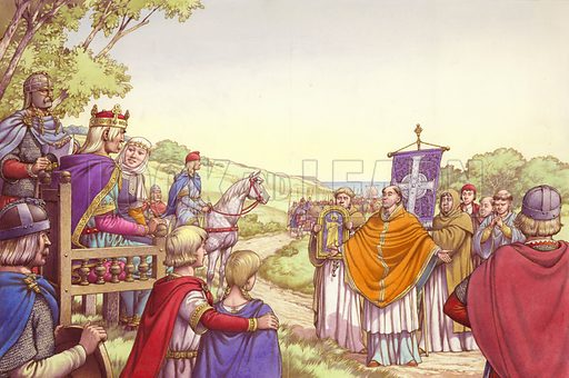 Augustine facing King Ethelbert and his Queen, Bertha - Look