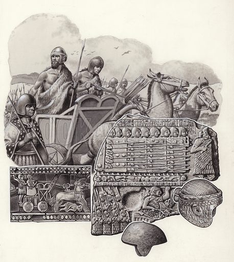 The Sumarians were amongst the first warriors to wear armour. Sometimes they rode into battle in chariots drawn by wild asses (seen in the standard bottom left); (middle right) King Eannatum of Lagash leading his troops into battle 4,500 years ago; (far right) gold helmet of Prince Meskelamshar (lower right) bronze helmet found in the Royal Cemetery at Ur. From Look and Learn 613 (13 October 1973).